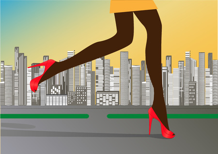womans slender legs in red high-heeled shoes run on the road against the background of skyscrapers Illustration