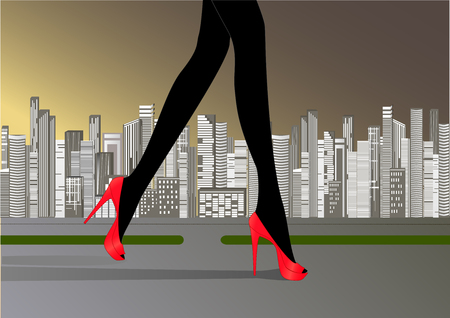 womans slender legs in red high-heeled shoes run on the road against the yellow gray background of skyscrapers
