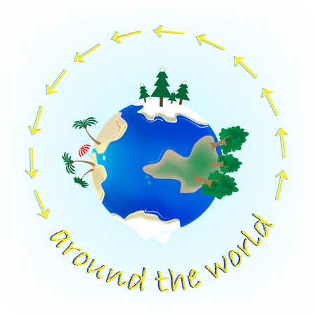 Trip around the world concept on the light blue background square, text around the planet, vector illustration