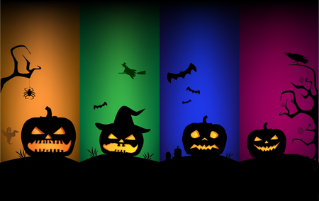 Halloween pumpkins silhouettes on multicolored backgrounds.