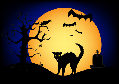 Halloween angry black cat on the big yellow moon and dark blue sky background. Illustration