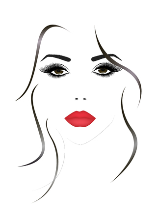 Portrait of the beautiful woman face with a red sexy lips, vector illustration