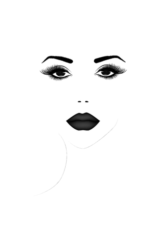 Beautiful woman face portrait, black and white vector illustration Illustration