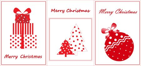merry christmas greeting cards, flat new year elements, red and white colors