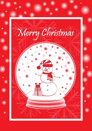 greeting card marry christmas with snowman in the snowball, vertical, vector illustration