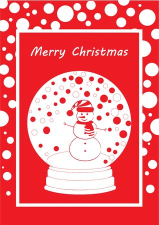 greeting card marry christmas with snowman in the snowball, flat style, vertical, vector illustration