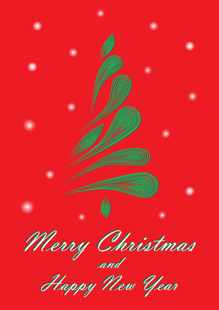 Green elegant Christmas tree on a red background Illustration