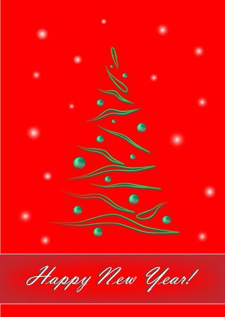 Green elegant Christmas tree on red background with happy new year text