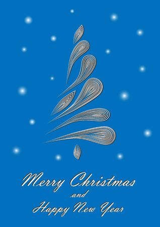 Abstract elegant Christmas tree on blue background with merry christmas and happy new year text
