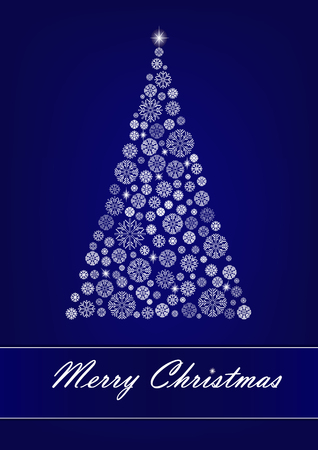 White snowflake Christmas tree on the dark blue background. vertical vector illustration
