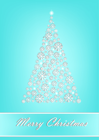 Beautiful white snowflake Christmas tree on the turquoise background, vertical vector illustration