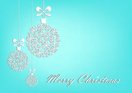 Three white Christmas balls on the turquoise background, horizontal vector illustration.