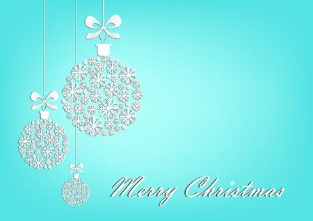 Three white Christmas balls on the turquoise background, horizontal vector illustration.