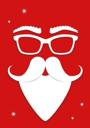 hipster white Santa Claus mask on red background, vertical vector illustration