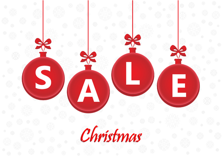 Sale word on red christmas balls on the white background, horizontal vector illustration