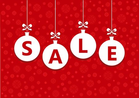 sale word on white christmas balls on the red background, horizontal vector illustration