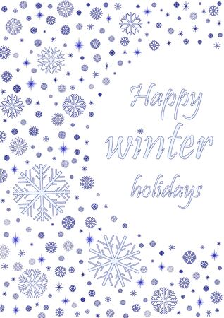 happy winter holiday card with blue snowflakes isolated on the white background, vertical vector illustration Illustration