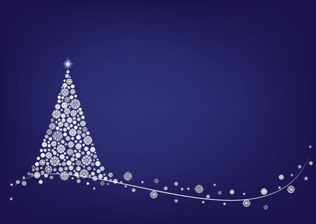 White snowflake Christmas tree and wavy line on dark blue background, horizontal vector illustration