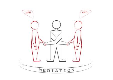 Bemiddelaar en twee personenhandenschudden dat op de witte achtergrond wordt geïsoleerd. Winnaar - winnaar principe, vooraanzicht, vector illustratie, horizontaal. Vector Illustratie