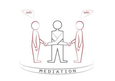 Mediator and two persons handshaking isolated on the white background. Winner - winner principle, front view, vector illustration, horizontal.