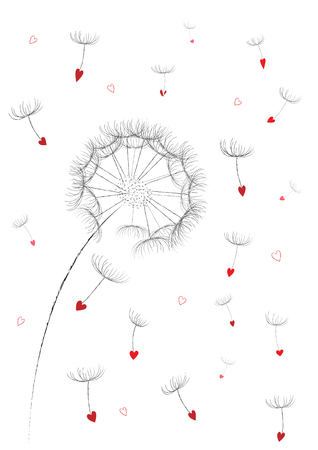 dandelion flower red seeds in a heart shape flyingin the air isolated on the white background vertical, vector illustration 向量圖像