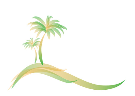 yellow green logo two palm trees on the island on the sea or ocean isolated on white, horizontal vector illustration Ilustração