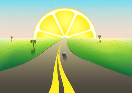 fantastic landscape road to the horizon, citrus sunrize in the starry sky, horizontal vector illustration Фото со стока - 104397282