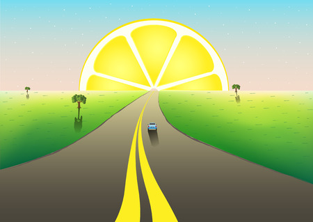 fantastic landscape road to the horizon, citrus sunrize in the starry sky, horizontal vector illustration