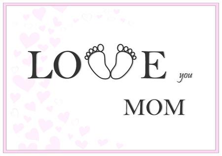 love you mom horizontal pink greeting card vector illustration Illustration