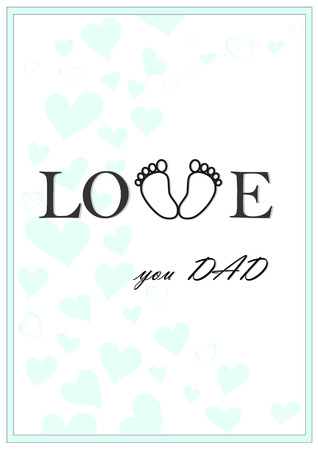love you dad vertical green greeting card vector illustration