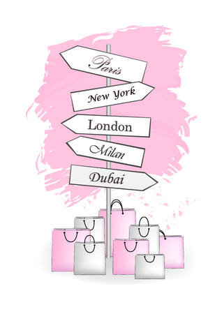 pink road signs Shopping City isolated on white background vertical vector illustration