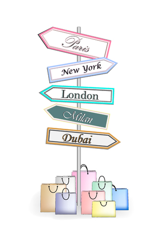 multicolor road signs Shopping City isolated on white background Illustration
