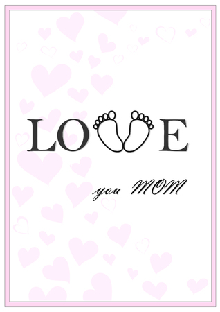 love you mom vertical pink greeting card vector illustration Ilustração