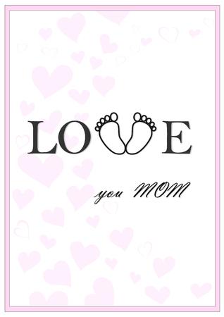 love you mom vertical pink greeting card vector illustration Illustration