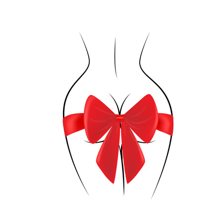 contour of the female back and red gift bow isolated on the black background, square vector illustration