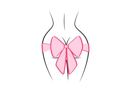 contour van de vrouwelijke rug en roze cadeau boog geïsoleerd op de zwarte achtergrond, vierkante vectorillustratie Vector Illustratie
