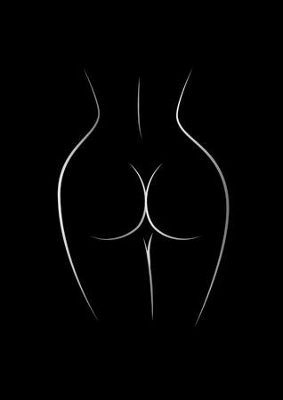 contour of the naked female back and buttocks isolated on the black background, vertical vector illustration Çizim