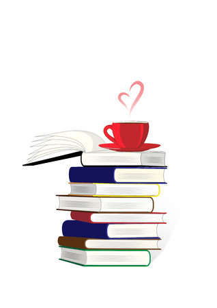 stack of books and a cup of coffe or tea on the top isolated on the white background, vertical vector illustration