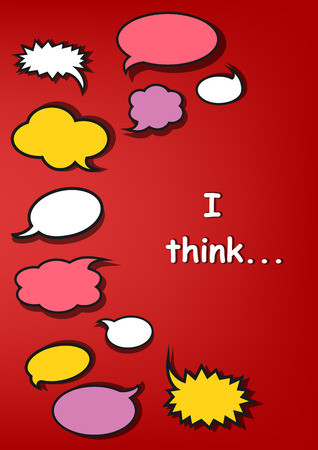 multicolor speech bubbles and I think quote on the red background, vertical vector illustration