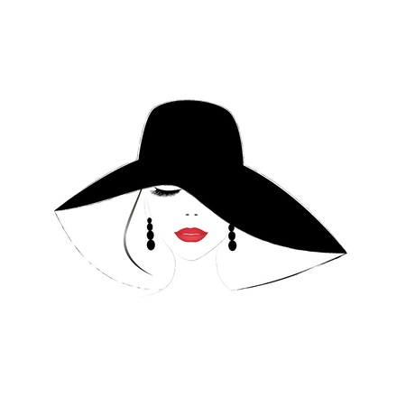 smiling beautiful woman face with closed eyes and red  lips in a wide brimmed hat, square vector illustration
