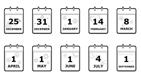 set of icons calendar pages with different holiday dates and simbols, black and white, flat style, vector illustration Illustration