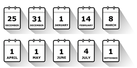 set of icons calendar pages with different holiday dates, shadow, black and white, flat style, vector illustration
