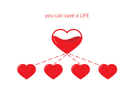 poster for blood donation, five hearts isolated on the white background. square vector illustration Illustration