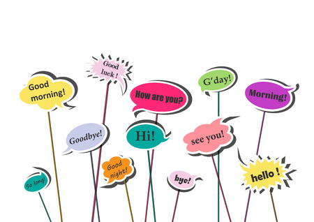 multicolor speech bubbles with different greetings and goodbyes isolated on the white background, horizontal vector illustration