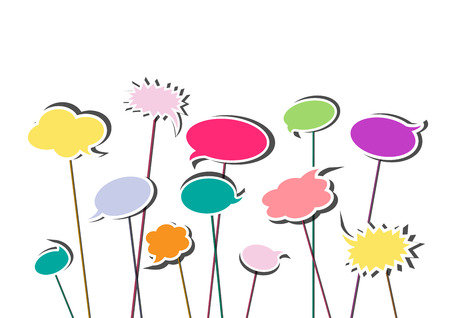 multicolor speech bubbles isolated on the white background, horizontal vector illustration