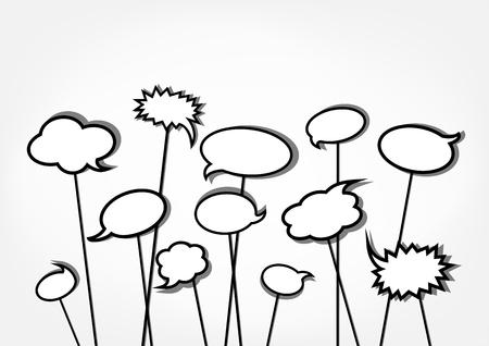 bw speech bubbles on the light gray background, horizontal vector illustration