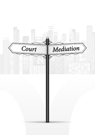 court mediation waymark on white cityscape background vertical vector illustration
