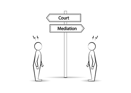 Two angree men and  waymark court mediation isolated on white background, horizontal vector illustration