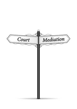 court mediation waymark isolated on the white background vertical vector illustration