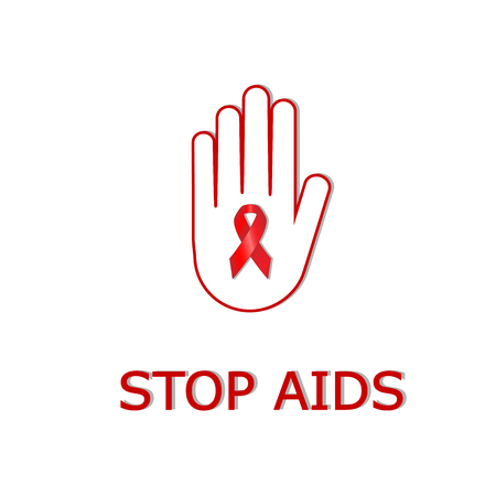 human hand with aids ribbon for stop virus isolated on the white backgrouund, square red and white vector illustration
